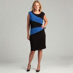 @Overstock - A stylish black and blue colorblock design highlights this dress from Calvin Klein. A scoop neck, light stretch and sleeveless design finish this dress.   http://www.overstock.com/Clothing-Shoes/Calvin-Klein-Womens-Black-Atlantis-Plus-Dress/6706334/product.html?CID=214117 $84.99