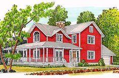 T-Shaped Farmhouse Design - 46158SE | 2nd Floor Master Suite, Corner Lot, Country, Farmhouse, Narrow Lot, Wrap Around Porch | Architectural Designs