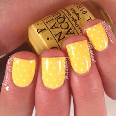 Cute tiny polka dots- use a band-aid with holes already in it to mimic this look (I've seen a bobby pin be used too).