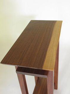 Pair of Live Edge End Tables - Walnut Table Set - Narrow Furniture Design, Minimalist Modern Home Decor - Solid Wood Tables for Small Spaces Small Bookcase, Modern Bookcase, Solid Wood Furniture, Custom Furniture, Narrow Side Table, Live Edge Table, Wood Table, Nightstand, Shelves
