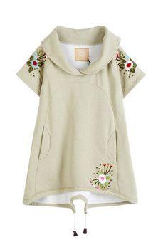 Embroidery Flower Embellished Short Sleeve Shawl Collar Coat