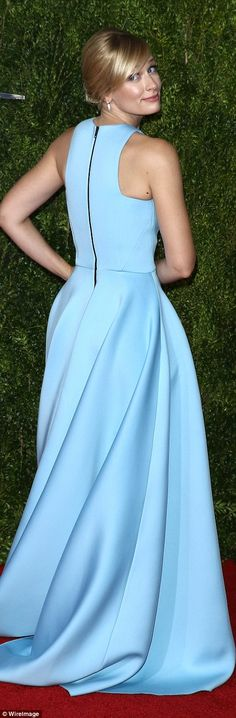 Cinderella blue: Beth Behrs looked nothing like a Broke Girl in this periwinkle gown...