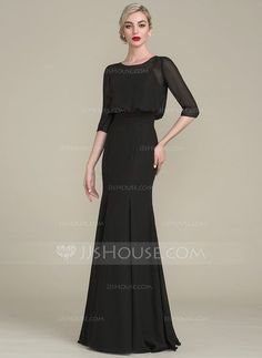 [US$ 116.69] Trumpet/Mermaid Scoop Neck Floor-Length Chiffon Mother of the Bride Dress With Ruffle