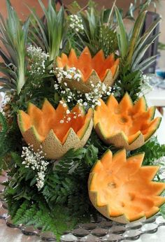 cascading fruit displays | LP_FruitD5.....a neat way to use melon rinds after making melon balls