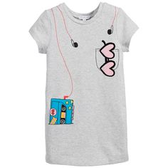 Little Marc Jacobs Grey Marl Walkman & Headphones Print Dress at Childrensalon.com