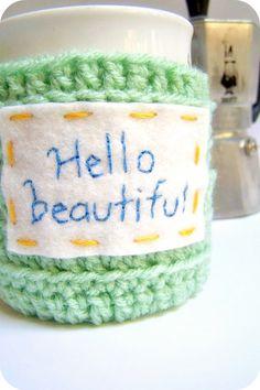 Mug Coffee Tea Cup Cozy Hello Beautiful green by KnotworkShop, $16.00