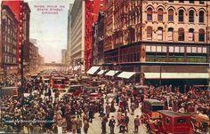 Chicago, Illinois Noon Hour on State Street vintage postcard, historic photo