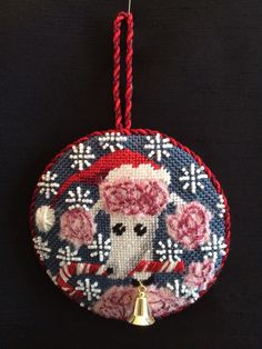 Pink poodle needlepoint ornament ~ canvas by Kirk&Bradley