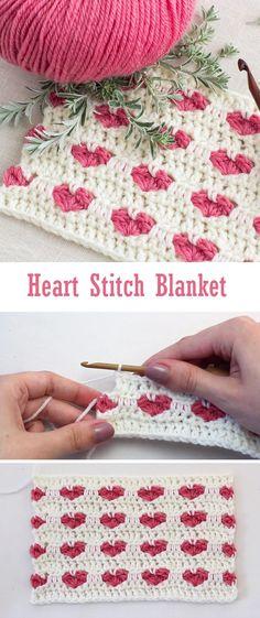 Crochet Heart Stitch Blanket - Design Peak Knitting For BeginnersKnitting For KidsCrochet PatronesCrochet Ideas Crochet Design, Crochet Diy, Crochet Amigurumi, Love Crochet, Crochet Crafts, Crochet Projects, Diy Crafts, Crochet Heart Blanket, Crochet Blanket Patterns