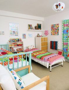 colorful and vintage toys..2 kids in small room can be done. :)