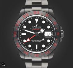 Rolex Explorer II: Triple Red s a customisation of a Rolex Explorer II Reference 216570.  Limited to 25 Pieces.  Complete Diamond-like Carbon (DLC) Coating.  Black Dial with white Indices and Hands. Individual Numbering Laser Engraved 01/25 upon request. Automatic Movement with Date Function. 31 Jewels. 42mm Case. Matt Finish Bezel. Sapphire Crystal Glass. Oyster Flip-lock Bracelet. Water Resistant to 100m / 330ft.