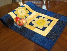 Sunflower Table Runner in Navy Blue and Bright by ColoradoQuilts