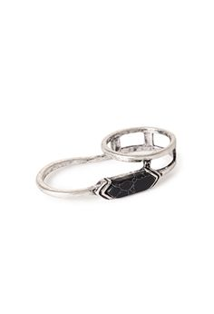 Faux Stone Linear Two-Finger Ring | FOREVER21 - 1000052397