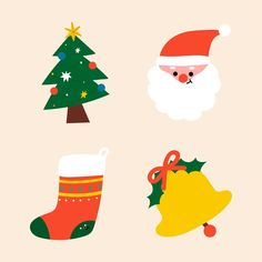 Festive decorative Christmas elements set vector | premium image by rawpixel.com / Toon Merry Christmas And Happy New Year, Christmas Countdown, Christmas Is Coming, Christmas Crafts, Christmas Icons, Christmas Stickers, Christmas Printables, Christmas Tree Drawing, Office Christmas Decorations