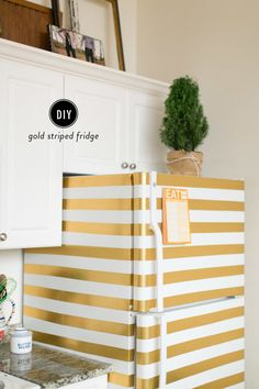 DIY Gold Striped Fridge