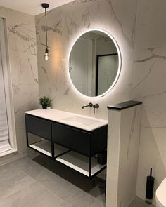 How to Finish Your Basement and Basement Remodeling – House Remodel HQ Bathroom Design Decor, Bathroom Style, Marble Bathroom, White Marble Bathrooms, Bathroom Mirror, Round Mirror Bathroom, Bathroom Interior, Bathroom Decor, Small Bathroom Makeover