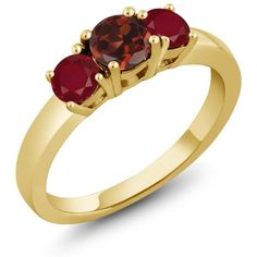 1.20 Ct Round Red Garnet Red Ruby 925 Yellow Gold Plated Silver 3-Stone Ring, Women's, Size: 6