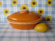 Hull Tangerine Casserole Dish with Lid Drip by LucyBettyNJune
