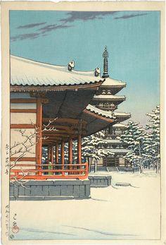Kawase Hasui. [1883-1957]  Yakushi Temple. Nara.  From Scholten Japenese Art.
