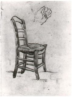 Chair and Sketch of a Hand Vincent van Gogh Drawing, Black chalk Saint-Rémy: March - April, 1890