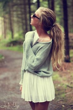 oversized sweater and pleated skirt: love the color of the green and the hair color