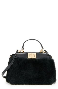 Fendi 'Micro Peekaboo' Genuine Shearling & Lambskin Leather Bag