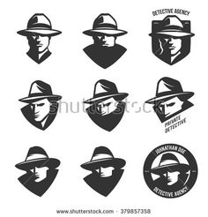Set of detective agency emblems with abstract men heads in hats. Trendy design elements for labels, logos, badges. Vintage vector illustration - stock vector