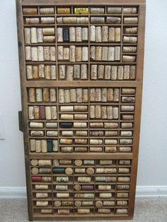 wine corks displayed in letterpress print tray