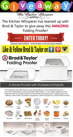 Brod & Taylor Giveaway from The Kitchen Whisperer valid until 11/23/15 - enter today!