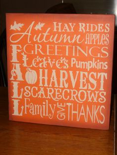 love this for autumn Thanksgiving Signs, Thanksgiving Decorations, Halloween Decorations, Autumn Decorations, Hm Deco, Wood Signs Home Decor, Wooden Signs, Wall Decor, Happy Fall Y'all