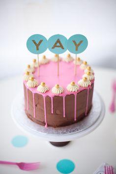 layered birthday drippy cake - classic yellow cake with chocolate fudge frosting
