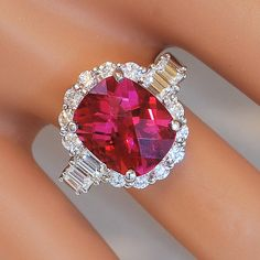 Handmade Gem Quality Pink Tourmaline and Diamond Ring
