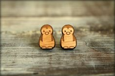 """Penguin Studs, Laser Cut Wood Earrings"" I would wear these for the Christmas season"