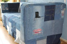 DIY Jean couch!!  Classy...