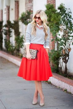 Sweater: Boden c/o (on sale! and suuper soft) , Top: Old Navy , Skirt: Leanne Barlow , Clutch: Boden c/o (on sale!), Shoes: 9 West , Necklace: J. Crew ( similar ), Sunglasses: Betsy Johnson ( similar ) Happy Valentine's Day!  For our date night tonight I am going with my Poppy Take A Bow skirt .  I decided to ditch the bow in exchange for a statement necklace.  [...]