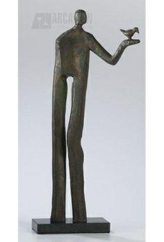 Cyan Design Sculpture with Bird In Hand