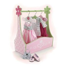 Doll Furniture Dress Rack & Set of 3 Hangers, Hand Painted, Fits American Girl Doll Bed Rooms and 18 Inch Doll Clothes