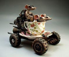 """""""Teacup Mouse Car"""" sculpture by Mitchell Grafton Animal Sculptures, Sculpture Art, Pottery Sculpture, Steampunk Kunst, Found Object Art, Scrap Metal Art, Robot Art, Robots, Junk Art"""