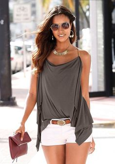 Shop White Casual Shorts from LASCANA clothing and get ready for fun. Summer Fashion Outfits, Summer Outfits Women, Short Outfits, Spring Summer Fashion, Spring Outfits, Casual Outfits, Cute Outfits, Love Fashion, Womens Fashion