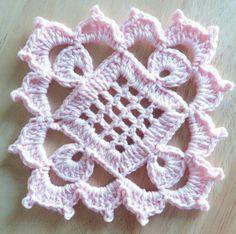 Guardado elvira Baby Afghan Crochet Patterns, Crochet Square Patterns, Crochet Blocks, Crochet Diagram, Crochet Squares, Crochet Designs, Knitting Patterns, Crochet Flower Tutorial, Crochet Flowers