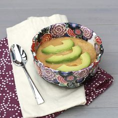 Slow Cooker Sweet Potato Cauliflower Bisque with Avocado