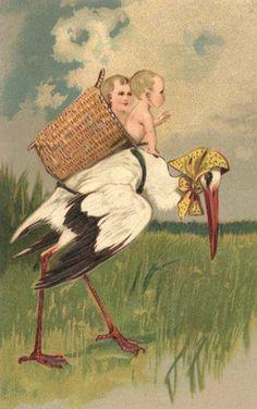 Ooievaar met mand op de rug met baby's