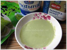 DIY Beauty: homemade hydrating face mask - a big teaspoon of the yogurt and mixed it with a teaspoon of matcha powdered green tea and a quarter teaspoon of manuka honey
