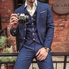f8c17dd07bb Mens Suits Blue Plaid Fashion Slim Fit Style Blazer Groom Groomsmen Suit  Three Pieces  menssuitsblue