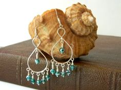 Sterling Silver Chandelier Earrings with Teal by hiddentreasure
