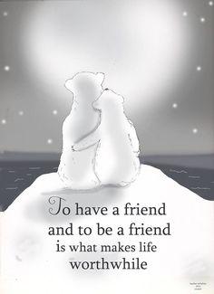 Friendship Art -Polar Bear Art- Winter - Art for Women - Inspirational Art - black and white art Friendship Art, Friend Friendship, True Friends, Best Friends, Amazing Friends, Bestest Friend, Youre My Person, Bear Art, Winter Art