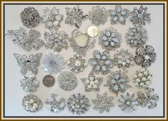 30 Brooches WHOLESALE LOT Clear Bling Rhinestone Silver BROOCH PIN Wedding