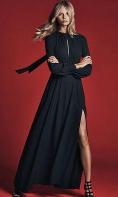 Black Poet Sleeve Maxi Dress | Express