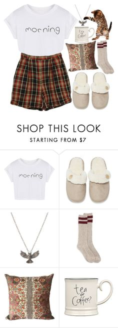 """""""Lazy Mornings"""" by leah1992 ❤ liked on Polyvore featuring WithChic, Izod, Lounge & Sleep, ASOS, Brunschwig & Fils, Expressions, LazyDay, sleepwear and morning"""