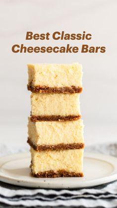 Classic Cheesecake, Cheesecake Bars, Cheesecake Recipes, Baking Recipes, Cookie Recipes, Dessert Recipes, Bar Recipes, Cherry Desserts, Bite Size Desserts